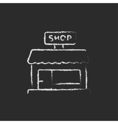 Shop store icon drawn in chalk vector