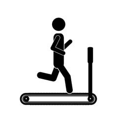 Silhouette monochrome with man in treadmill vector