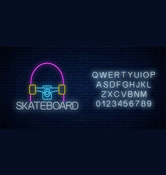 skateboard glowing neon sign and alphabet skating vector image