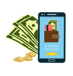 smartphone with e-wallet banner vector image