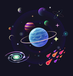 Space background with glossy planets stars vector