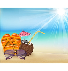 Summer beach sandals color young coconut with s vector