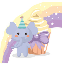Sweet and delicious cupcake with elephant vector