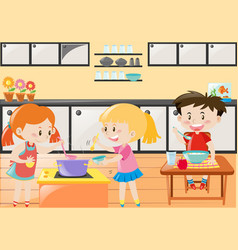 Three kids cooking and eating in kitchen vector
