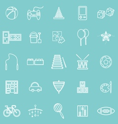 Toy line icons on green background vector image
