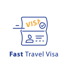 Travel visa approval passport and stamp vector