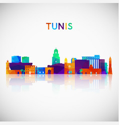 Tunis skyline silhouette in colorful geometric vector