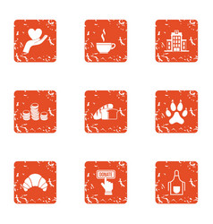 Volunteer icons set grunge style vector