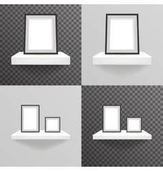 White shelf hanging on a wall with photo frame vector image