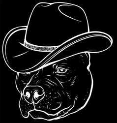 White silhouette gangster pitbull with fedora vector
