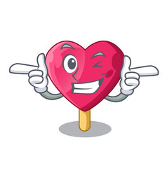 Wink heart character ice cream on candy vector