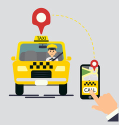 yellow cab hand vector image