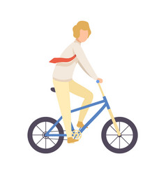 young man in business clothes riding bicycle vector image