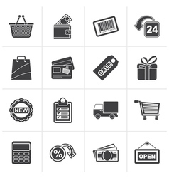 Black shopping and retail icons vector image