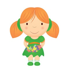cartoon girl holding flowers vector image vector image
