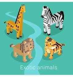 Exotic Animal Set Isometric 3d Design vector image