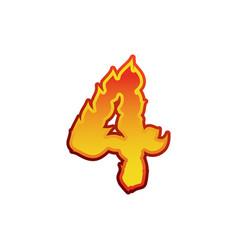 Number 4 fire flames font four tattoo alphabet vector