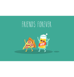 pizza and glass beer vector image vector image