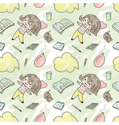 Seamless pattern with girl vector image
