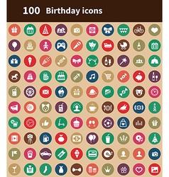 100 birthday icons vector image