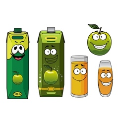 Cartoon happy green apple fruit glasses and packs vector image vector image