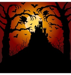 castle cemetery and raven vector image