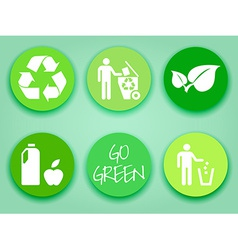 Flat green stickers set vector image