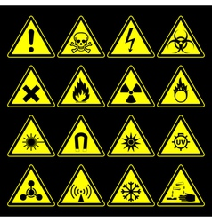 hazard symbols and signs collection vector image vector image