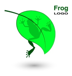 Logo with a frog on a bright green leaf vector image vector image