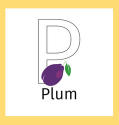 plum and letter p coloring page vector image