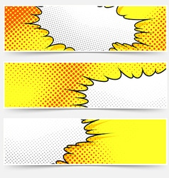 Pop-art comic book style yellow header set vector image