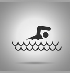 Swimming pool icon man and waves icon vector