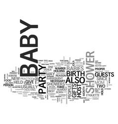 baby shower etiquette text word cloud concept vector image vector image
