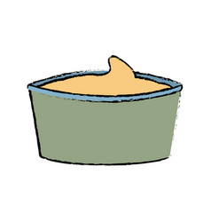 Bowl with sauce mustard ingredient cooking vector