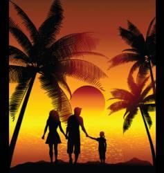 family on beach vector image