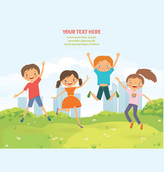 happy jumping children in the summer city vector image
