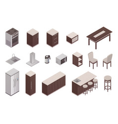 isometric elements of kitchen interior vector image vector image