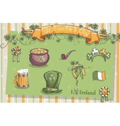 Set of different items for St Patrick vector image vector image