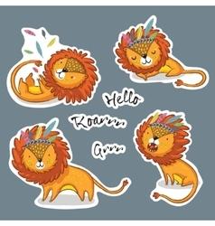 Sticker set of cartoon lion action vector image vector image
