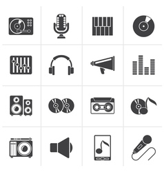 Black Music and audio equipment icons vector image vector image