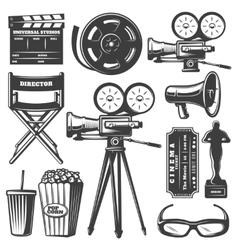 Cinema Monochrome Elements Set vector image vector image