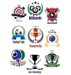 Colored sports tournaments emblems set vector image