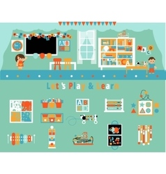 Elementary School Classroom and Objects Set vector image vector image