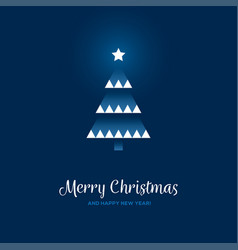 geometric christmas tree on blue background vector image vector image