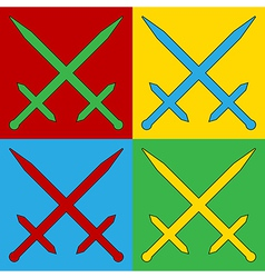 Pop art crossed swords icons vector image vector image