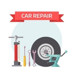 Tire service mechanic elements design concept flat vector image vector image