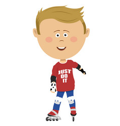 young boy on roller skates wearing safety guard vector image