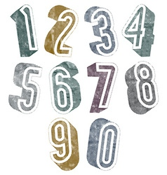 3d numbers with halftone dots textures vector image