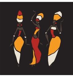 African dancers silhouette set vector