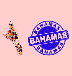 Andros island bahamas map collage flame and vector